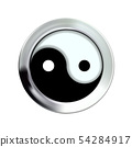 Yin and yang button icon in silver, metal frame. 54284917