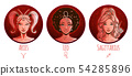 Fire zodiac set, beautiful girls, Aries, Leo, 54285896