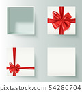 Set of realistic gift boxes with decorative red 54286704