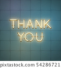 Thank you glowing neon shiny text, vector 54286721
