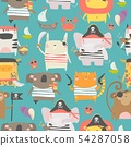 Seamless pattern with cute animals with pirate and sailor attributes style 54287058