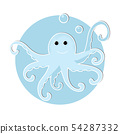 Cartoon octopus icon in modern flat style 54287332