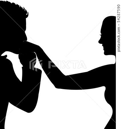 man kissing the womans hand, silhouette vector 54287590