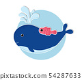 Cartoon whale icon in modern flat style 54287633