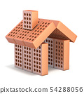 Small house sign made of bricks 3D 54288056