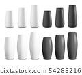 Vector 3d Realistic Render White and Black Ceramic Vase Set Closeup Isolated on White Background 54288216