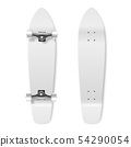 Skateboarding. Vector Realistic 3d Render Blank White Skateboard Icon Set Closeup Isolated on White 54290054