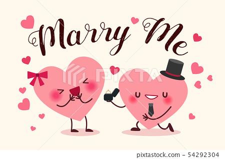 cute cartoon hearts 54292304