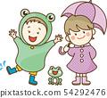 孩子在雨中玩耍 54292476