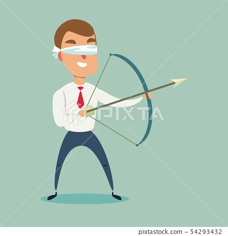 Blindfolded businessman shooting arrow. 54293432