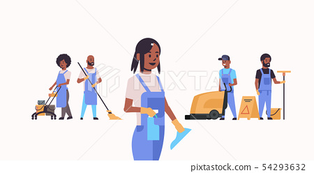 janitors team working together cleaning service concept african american male female cleaners in 54293632