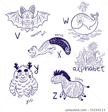 Cute zoo alphabet drawing in a chalk style. Hand drawn contour illustration 54294213