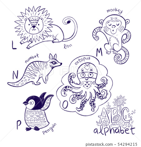 Cute zoo alphabet drawing in a chalk style. Hand drawn contour illustration 54294215