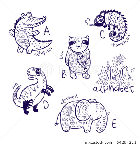 Cute zoo alphabet drawing in a chalk style. Hand drawn contour illustration 54294221
