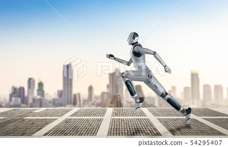 robot running or jumping 54295407