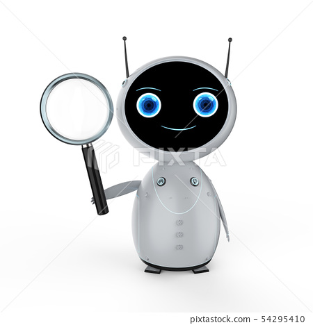 Robot with magnifying glass 54295410