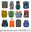 Backpack camp vector backpacking travel bag with tourist equipment in hiking camping and climbing 54296171