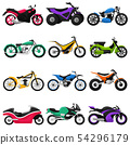 Motorcycle vector motorbike and motoring cycle ride transport chopper illustration motorcycling set 54296179