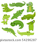 Crocodile vector cartoon crocodilian character of green alligator playing in kids playroom 54296287