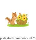 Sunflower basket and chipmunk 54297075