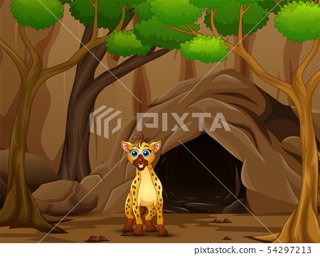 Hyena cartoon living in the cave 54297213
