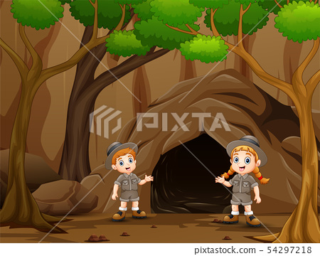 Scout boy and girl talking near the cave 54297218