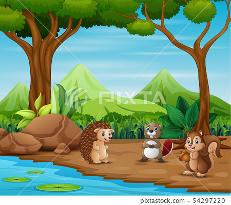 Animals cartoon living in the forest 54297220