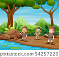 The scout kids are explore the forest 54297223