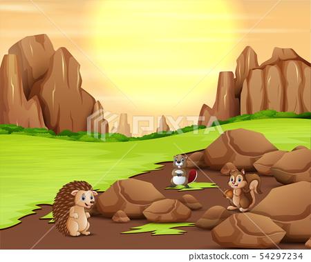 Animal cartoon playing with sunshine background 54297234