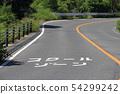 在車行道上顯示的學校區域的信 54299242