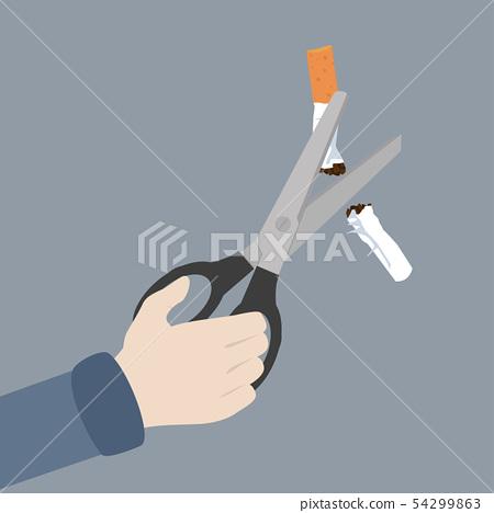 hand Scissors cutting a cigarrette 54299863