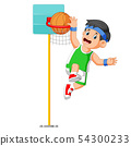 jumping for make the score in basket ball 54300233