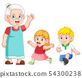the grandmother is taking care  54300238
