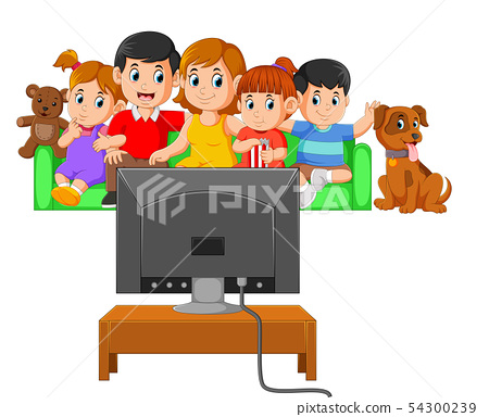 watching the television together 54300239