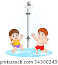 the children are playing under the shower 54300243