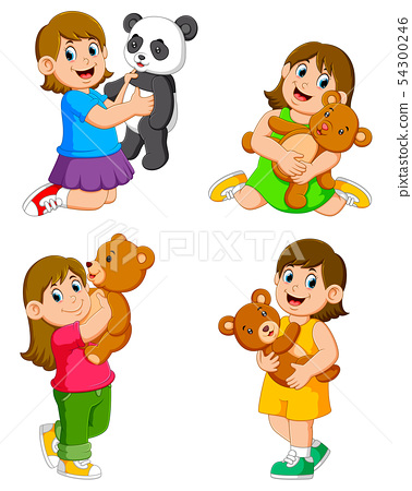 the collection of the girl playing with their doll 54300246