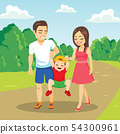 Young family walking together outdoors on park 54300961