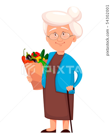 Grandmother holding pack with vegetables 54302001