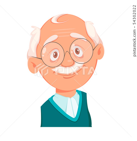 Face expression of grandfather, smiling 54302022