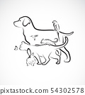 Vector group of pets - Dog, Cat, Parrot, Rabbit, 54302578