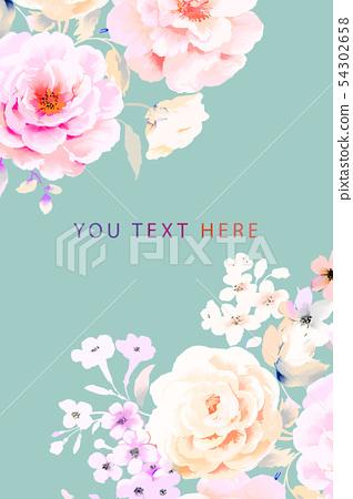 優雅的水彩牡丹花玫瑰花花卉 54302658