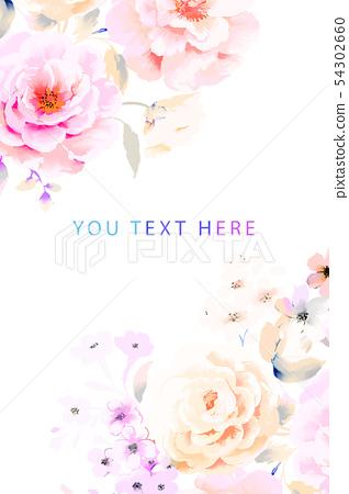 優雅的水彩牡丹花玫瑰花花卉 54302660