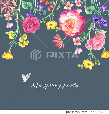 色彩豐富的水彩花卉組合 54303778