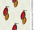 Cacao plant seamless pattern, vector illustration 54308064