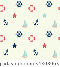 Nautical theme seamless background, vector illustr 54308065