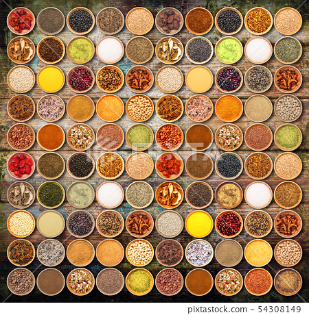 aromatic ingredients collage on wood background 54308149