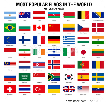 Collection of flags, most popular world flags 54309580