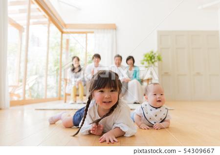 세 가족, 아기, 거실, 마이 홈 54309667
