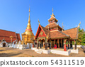 Golden pagoda and Buddha pavilion at Wat Pong 54311519
