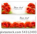 Red Poppy flower banners. Vector illustration 54312493